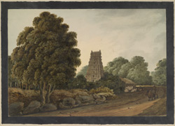 N.W. view of the temple at Trivagherry, near Pondicherry. December 1806